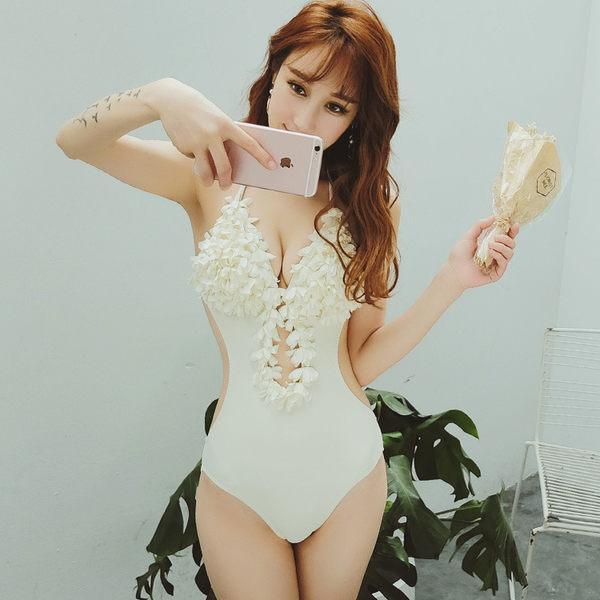 K.J時尚女郎瑪麗黛兒新款泳衣 時尚性感修身顯瘦連體三角泳衣 7746