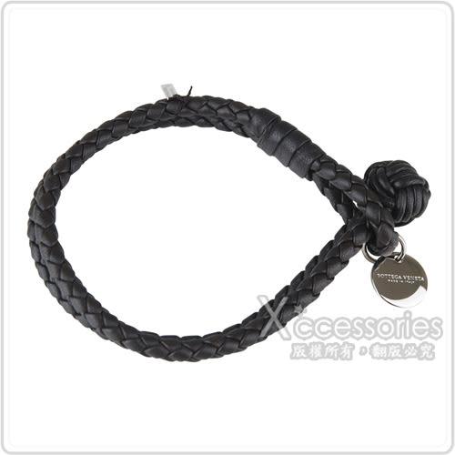 BOTTEGA VENETA 純手工編織雙環小羊皮手環(XS/S/M/深咖啡)