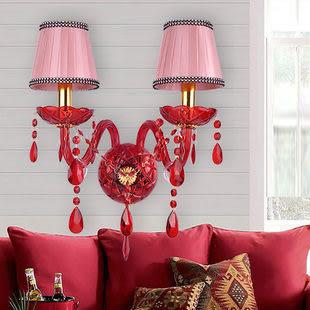 設計師美術精品館壁燈水晶壁燈,歐式水晶燈床頭燈簡約田園床頭家居燈飾燈具鏡前燈
