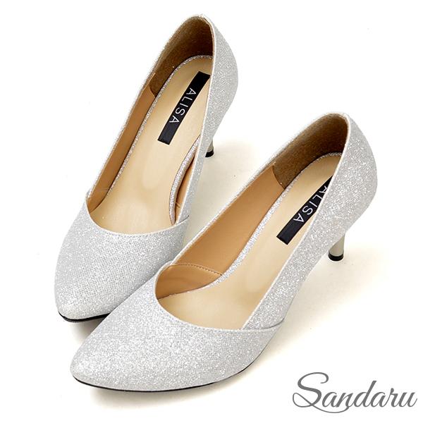 高跟鞋 奢華金蔥壓折尖頭細跟鞋-銀