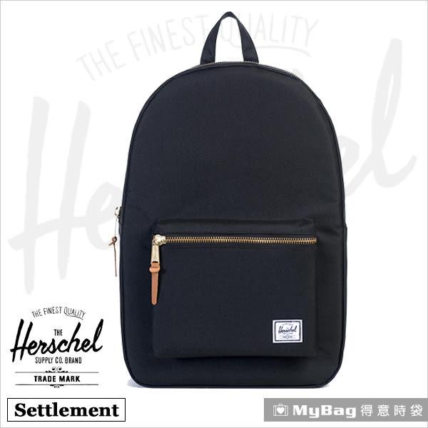 Herschel 後背包 黑色 金拉鍊系列15吋電腦後背包 Settlement-001 MyBag得意時袋