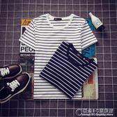 現貨出清夏季男士黑白條紋修身短袖T恤學生韓版圓領半袖衣服男裝潮流t體恤   9-26