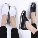 樂福鞋 秋季新款秋鞋真皮平底內增高樂福鞋一腳蹬懶人女鞋百搭休閑鞋