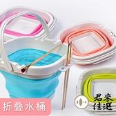 可折疊硅膠美術涮筆洗筆筒桶水粉顏料水彩畫戶外水桶伸縮洗筆桶【君來佳選】
