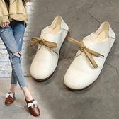 豆豆鞋女新款圓頭系帶娃娃鞋森女平跟女鞋小白鞋學生單鞋女  極有家