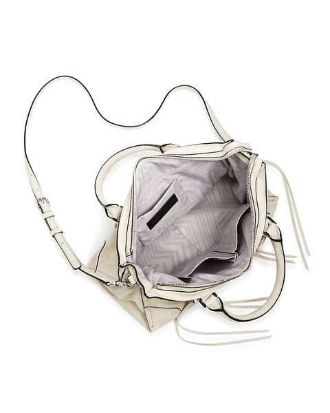REBECCA MINKOFF REGAN SATCHEL 麂皮公事包 手提包 側肩包/斜背包 珍珠白