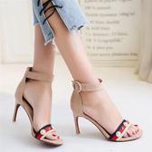 一字帶搭扣露趾涼鞋 夏季個性高跟鞋子《小師妹》sm468