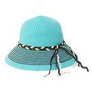 LIKA夢 Limehi  時尚造型編織帶草帽 沙灘遮陽帽 可折疊帽 翻邊圓帽 淺藍棕 Lime-9