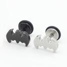 316L醫療鋼 蝙蝠 旋轉式耳環-銀、黑...