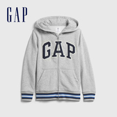 Gap男童 LOGO撞色字母連帽外套 598335-淺灰色