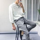 亞麻襯衫襯衫男士韓版寬鬆立領棉麻長袖襯衣白色寸衫潮帥氣衣服男 【時髦新品】