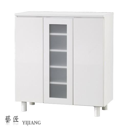 【藝匠】兩密門一玻璃門鏡面PU鞋櫃 收納櫃 鞋櫃 家具 置物櫃 櫃子 收藏 組合櫃 (白)