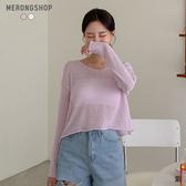 東京著衣-MERONGSHOP-自然系透肌感捲邊短版針織上衣(E190014)