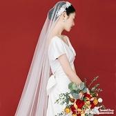 長拖尾韓式新娘頭紗蕾絲長款婚禮珍珠頭飾旅拍寫真造型復古頭紗