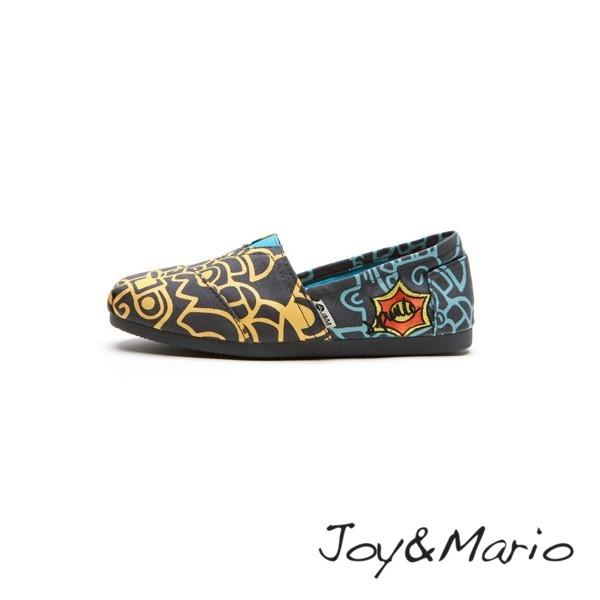 【Joy&Mario】設計師款塗鴉線條平底休閒鞋 - 61515W DK GREEN