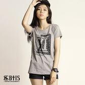 【BTIS】拼接圓領T-shirt / 麻灰色