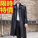 男款風衣真皮大衣外套-休閒亮面獨特熱銷長版男風衣62x3【巴黎精品】