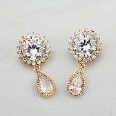 耳環 玫瑰金 925純銀鑲鑽-知性鏤空生日情人節禮物女飾品2色73gs253【時尚巴黎】