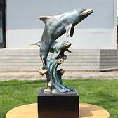 銅工藝品 美國雕塑雙海豚