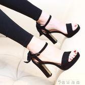 韓版夏天鞋子黑色蝴蝶結高跟鞋一字扣百搭女鞋夏新款粗跟涼鞋 薔薇時尚