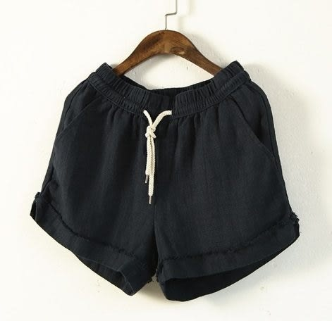 ☆莎lala (8折商品) 【E344-0038】日系短褲- (現貨)鬆緊收腰素色寬鬆棉麻褲 (SIZE約:M~L)