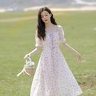 碎花連衣裙夏 裙子女夏長裙溫柔風仙女茶歇裙泡泡袖法式初戀甜美雪紡碎花連衣裙 設計師
