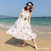 新款韓版無袖雪紡洋裝女海邊度假寬鬆吊帶透氣涼感沙灘長裙 js4905『miss洛羽』