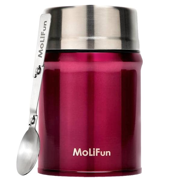 MoliFun魔力坊 316不鏽鋼輕量真空保鮮保溫悶燒罐/悶燒杯800ml-玫瑰紅(MF0800R)