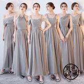 禮服 伴娘禮服長款2017新款伴娘團姐妹裙灰色伴娘服修身晚禮服女連衣裙 ~黑色地帶