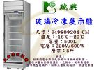 瑞興單門全凍展示冰箱/500L單門玻璃冰...