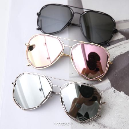 墨鏡 街頭個性風 不規則鏡片造型金屬太陽眼鏡 抗UV400 飛官造型【NY336】MIT台灣製造