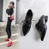 {丁果時尚}大尺碼女鞋34~43►2019新款尖頭低跟紳士鞋子*2色