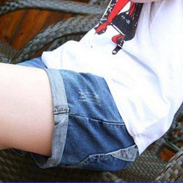 漂亮小媽咪 孕婦托腹褲 【P086YS】 反折 牛仔短褲托腹褲 五分短褲 孕婦短褲