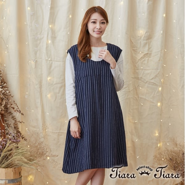 【Tiara Tiara】激安 直條紋圓領無袖洋裝(藏青/咖啡)
