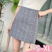 現貨-裙子-S-XL高腰格子側邊綁帶A字包臀裙KiwiShop奇異果0412【SZZ8828】