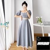 法式方領連衣裙女夏泡泡袖裙子森系收腰藍色長裙洋裝短袖連身裙品牌【邦邦男裝】