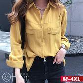 氣質寬鬆長袖純色襯衫 M-4XL O-ker歐珂兒 178151