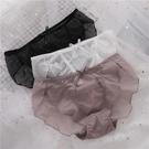 3條透視網紗內褲女低腰性感可愛純色透明蝴蝶結無痕少女三角褲頭 降價兩天