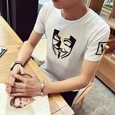 短袖T恤 純棉-韓版時尚個性面具男上衣3色73ms37[巴黎精品]