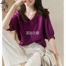 氣質名媛純色雪紡T恤女夏季新款V領套頭簡約百搭仿真絲中袖上衣潮