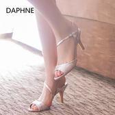 Daphne/達芙妮高跟涼鞋女夏36碼清倉細跟歐美時尚亮面露趾涼鞋【好康八九折下殺】