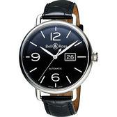 Bell & Ross Vintage WW1 復刻飛行大日期機械腕錶-黑/45mm BRWW196-BL-ST