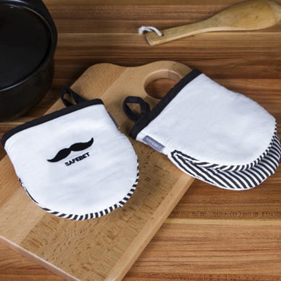 ◄ 生活家精品 ►【Q147-1】鬍子印花隔熱手套(單入售) 微波爐 烤箱 耐高溫廚房 防燙 棉帆布 防滑