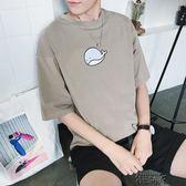 短袖男夏季新款男士印花短袖體恤港風寬鬆圓領上衣服韓版男裝半袖打底衫 街頭布衣