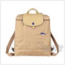 LONGCHAMP COLLECTION刺繡LOGO尼龍摺疊拉鍊後背包(米x深藍)