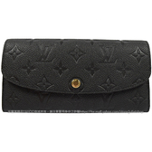 Louis Vuitton LV M62369 EMILIE 經典花紋全皮革壓紋扣式長夾.黑 全新 現貨【茱麗葉精品】