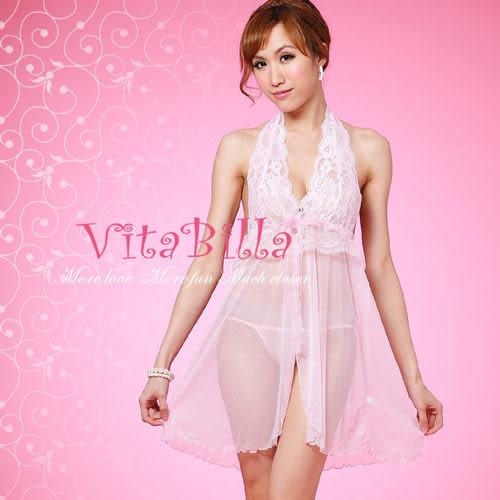 【伊莉婷】VitaBilla 粉色蕾絲 睡裙+小褲 二件組