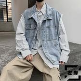 牛仔夾克男士寬鬆無袖背心潮流外套馬甲秋季【左岸男裝】