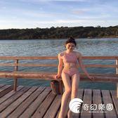 比基尼-性感綁帶肉粉色小胸分體兩件套游泳衣女-奇幻樂園