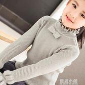 童裝女童毛衣套頭半高領韓版新款秋冬季中大童兒童修身打底針織衫 藍嵐